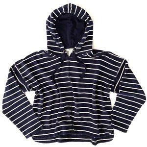 Orvis Nautical Stripe Navy Blue Hoodie Sweatshirt